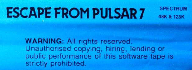 Escape from Pulsar 7 ZX Spectrum Back Cover
