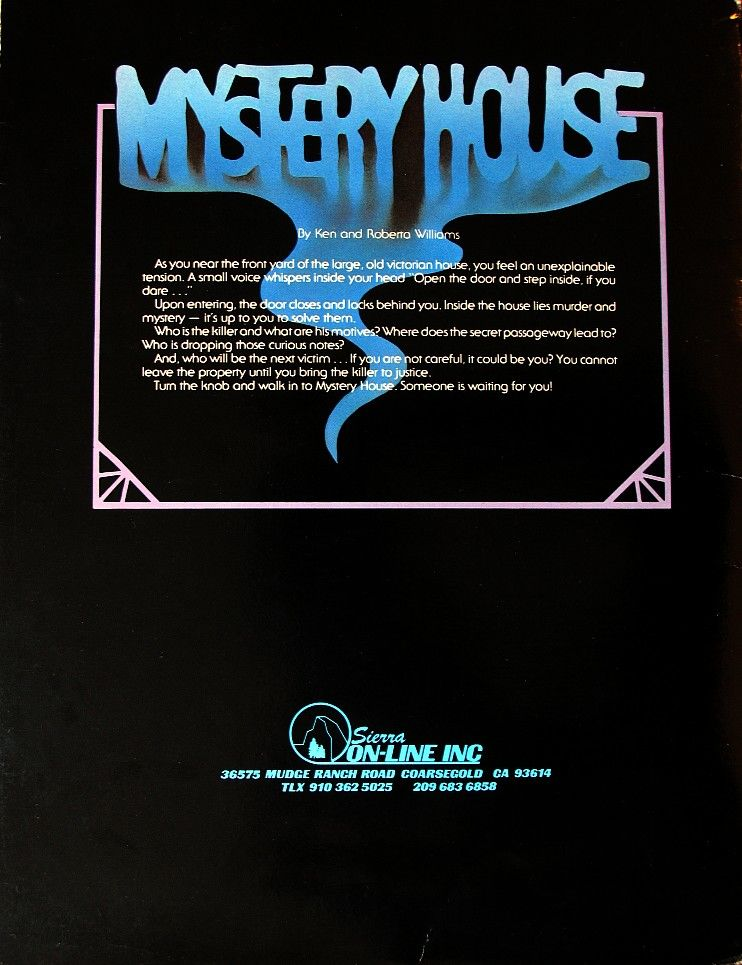 Hi-Res Adventure #1: Mystery House Apple II Back Cover