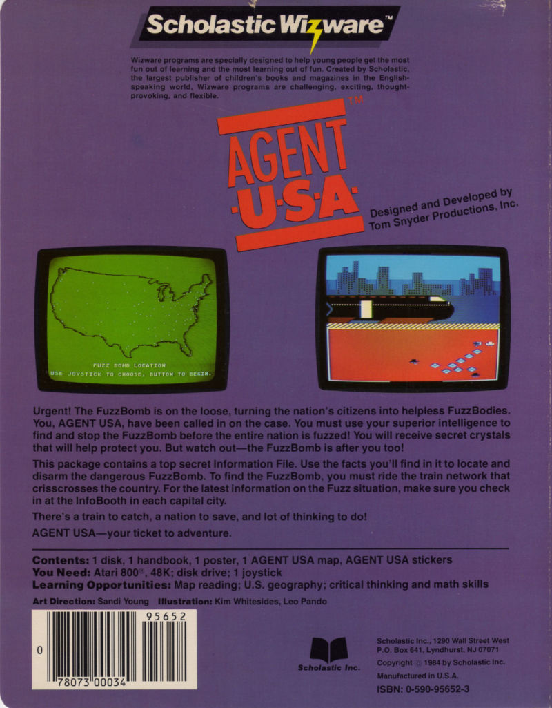 Agent USA Atari 8-bit Back Cover