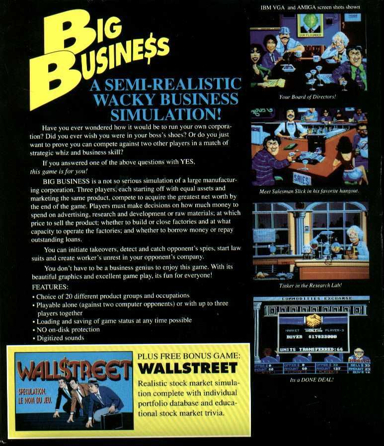 Big Business Atari ST Back Cover