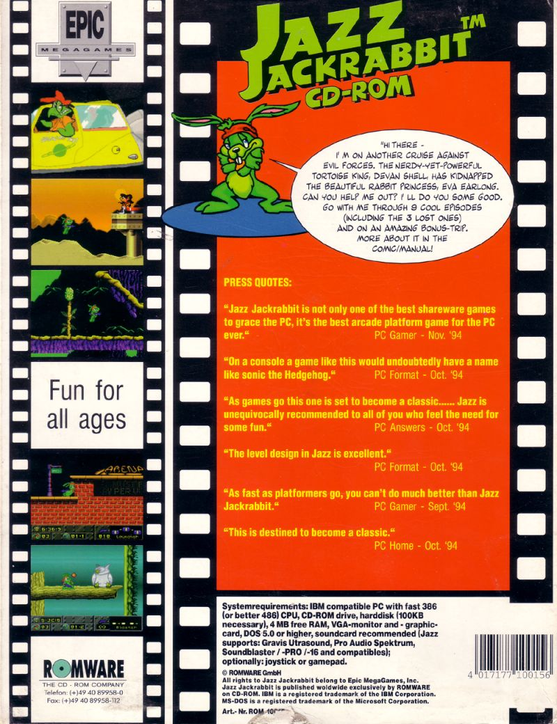 Jazz Jackrabbit CD-ROM DOS Back Cover