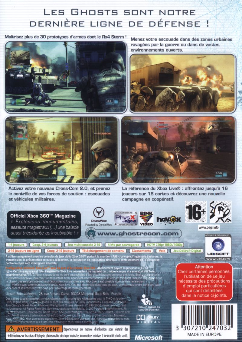 Tom Clancy's Ghost Recon: Advanced Warfighter 2 Xbox 360 Back Cover