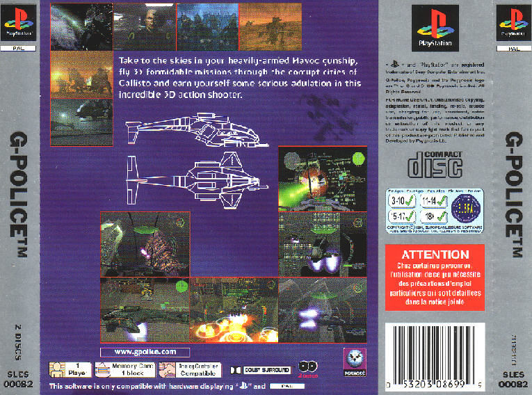 G-Police PlayStation Back Cover