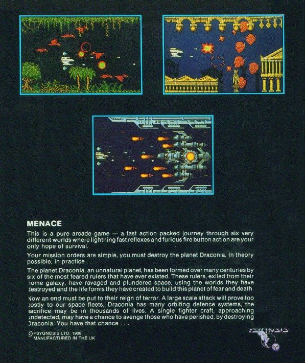 Menace Atari ST Back Cover