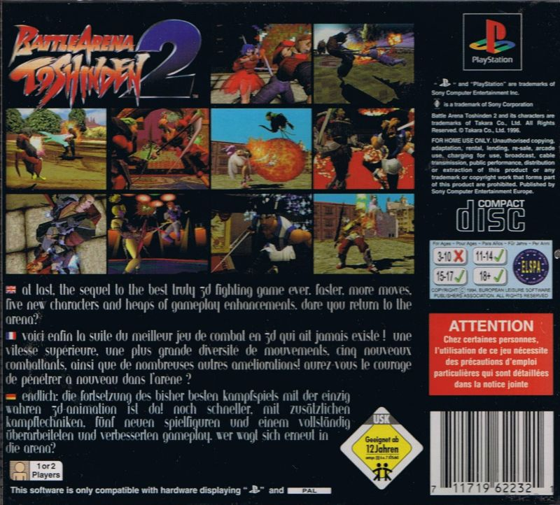 Battle Arena Toshinden 2 1995 Playstation Box Cover Art Mobygames