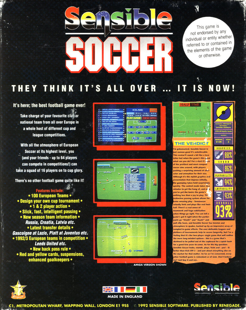 Sensible Soccer: European Champions - 92/93 Edition DOS Back Cover