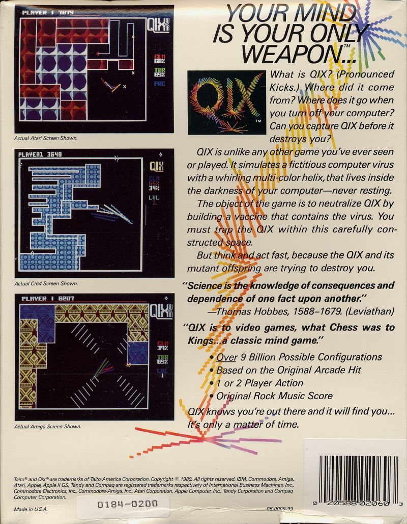 QIX Commodore 64 Back Cover