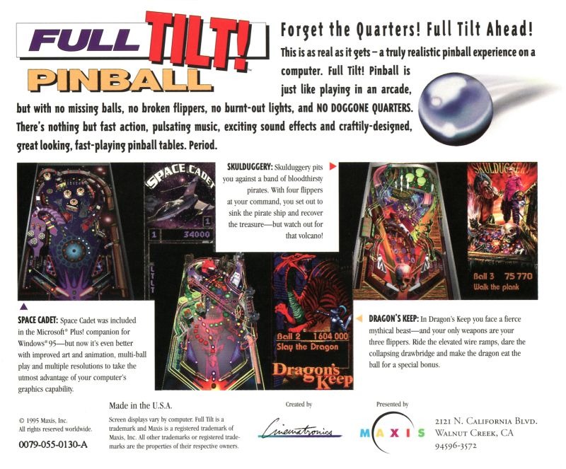 Full Tilt! Pinball Macintosh Back Cover
