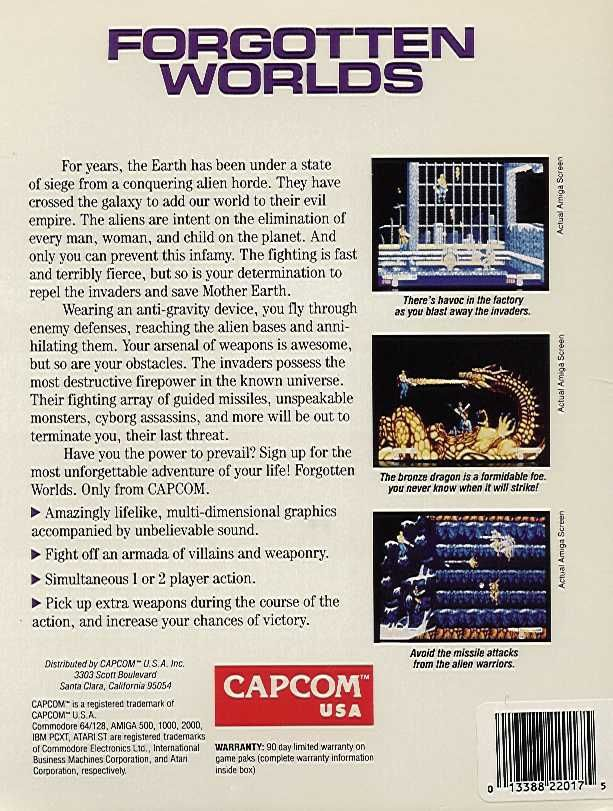 Forgotten Worlds Commodore 64 Back Cover