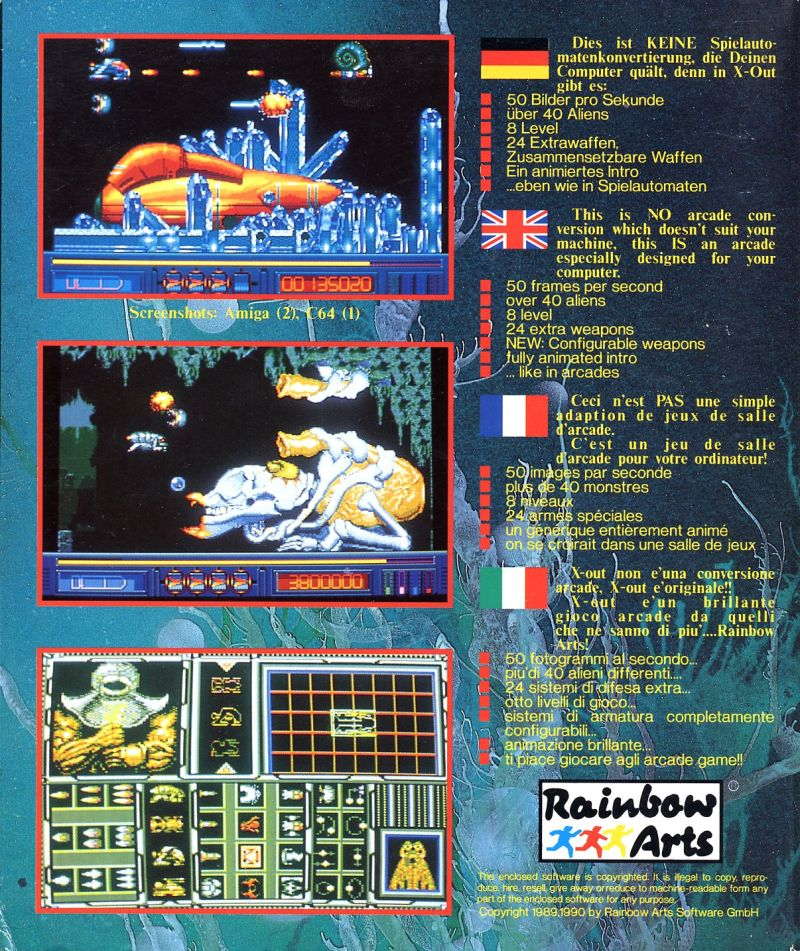 X-Out (1990) Amiga box cover art - MobyGames