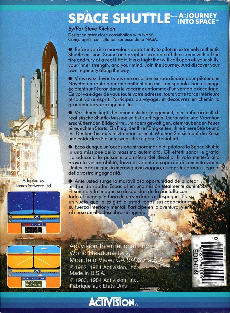 Space Shuttle: A Journey into Space (1984) Commodore 64 box cover ...