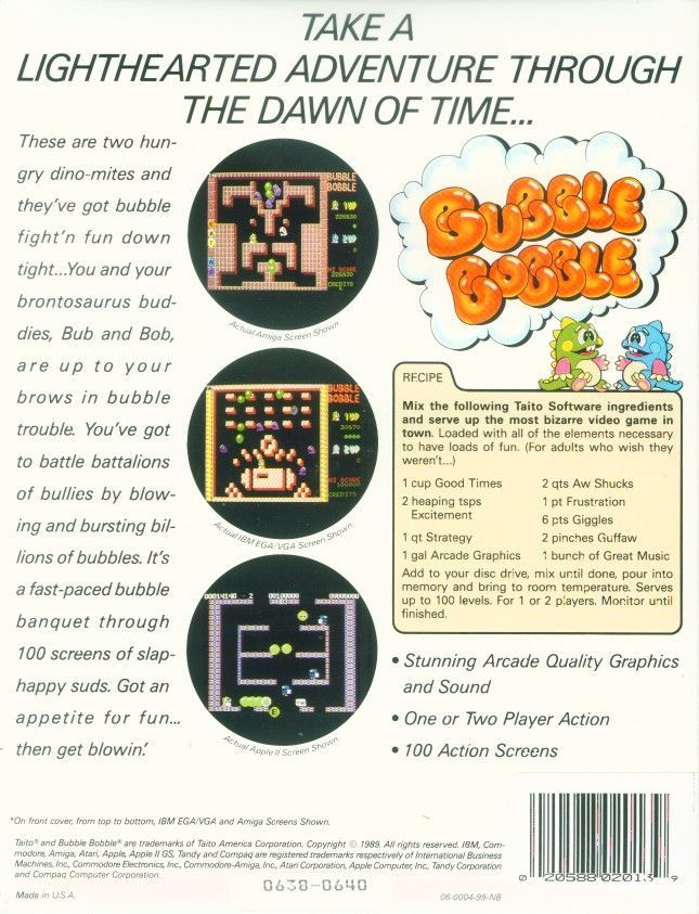 Bubble Bobble Apple II Back Cover