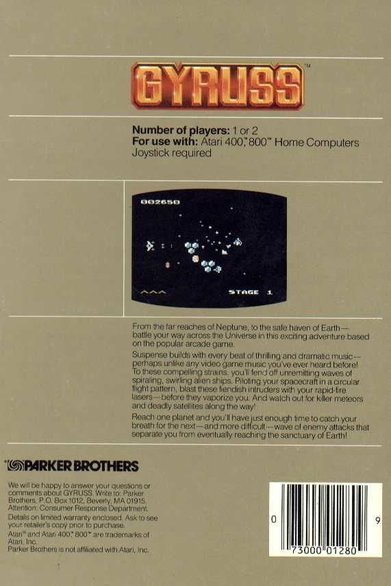 Gyruss Atari 8-bit Back Cover