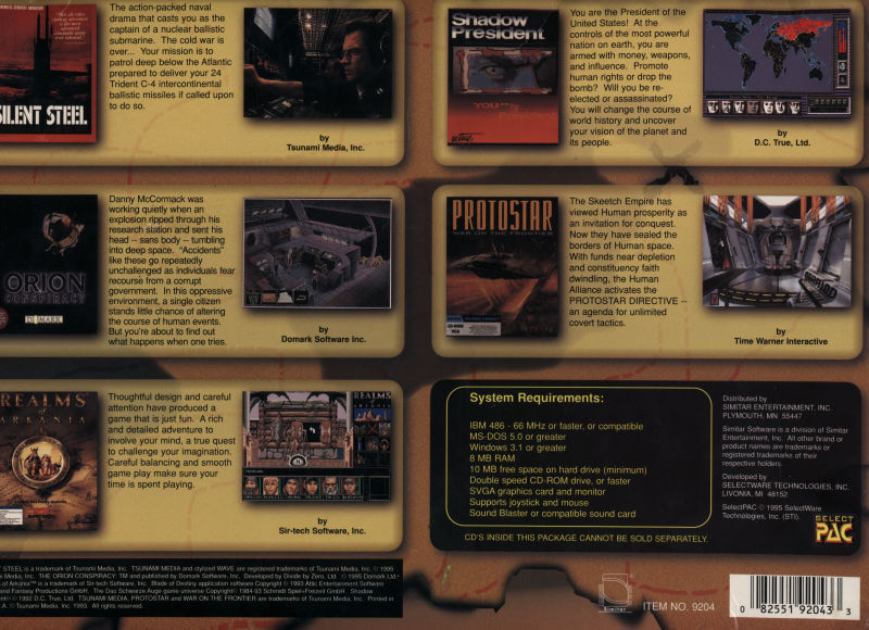 Adventure Games: 5 CD-ROM Collection DOS Back Cover