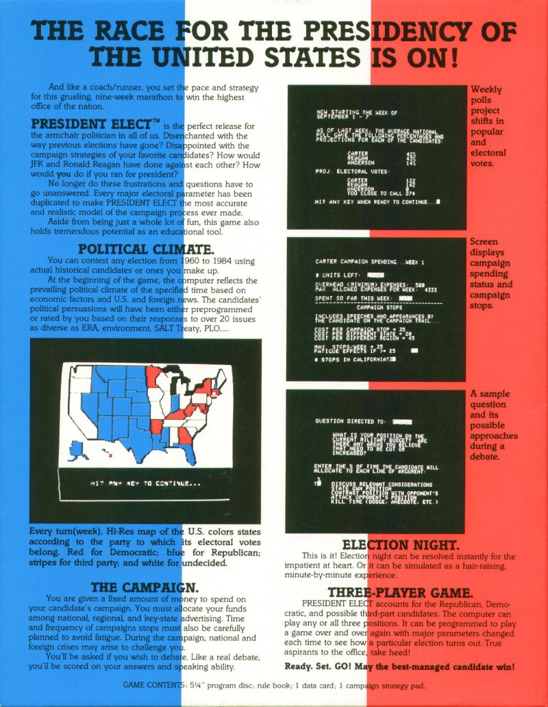 President Elect Apple II Back Cover