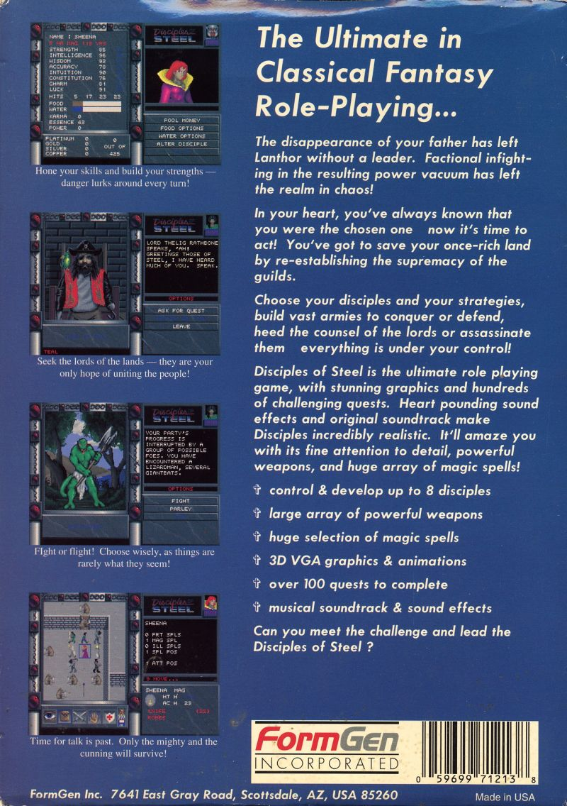 Disciples of Steel DOS Back Cover