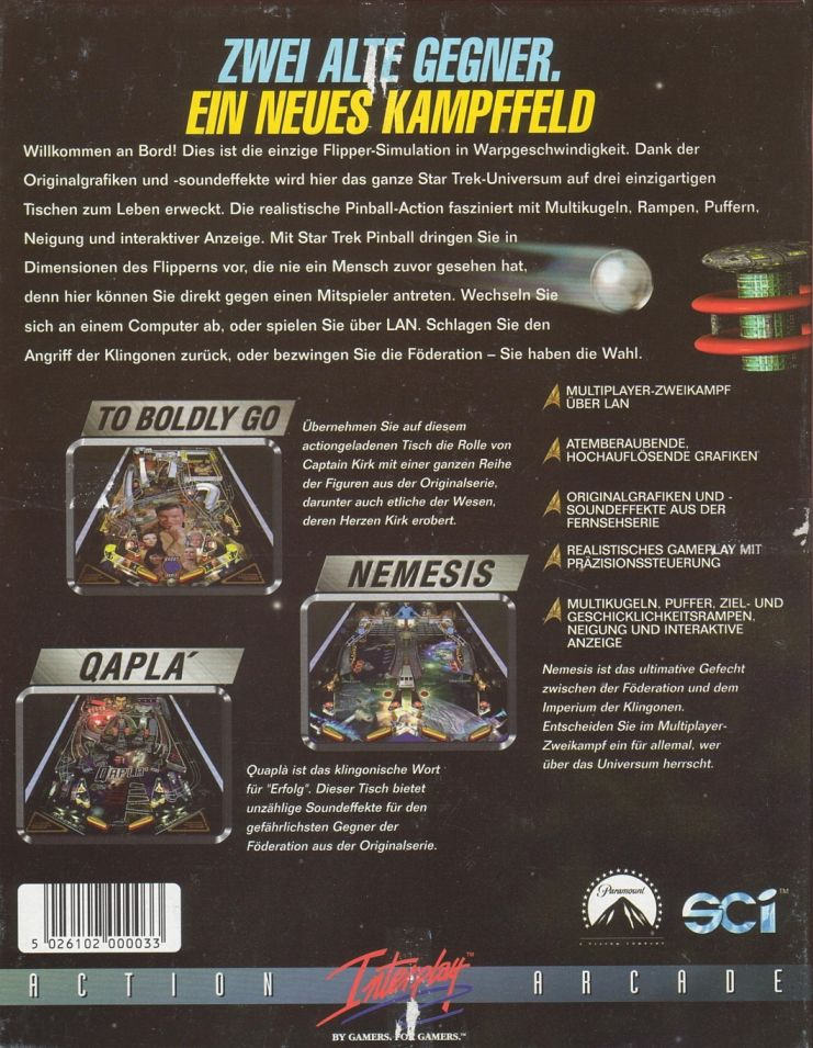 Star Trek Pinball DOS Back Cover