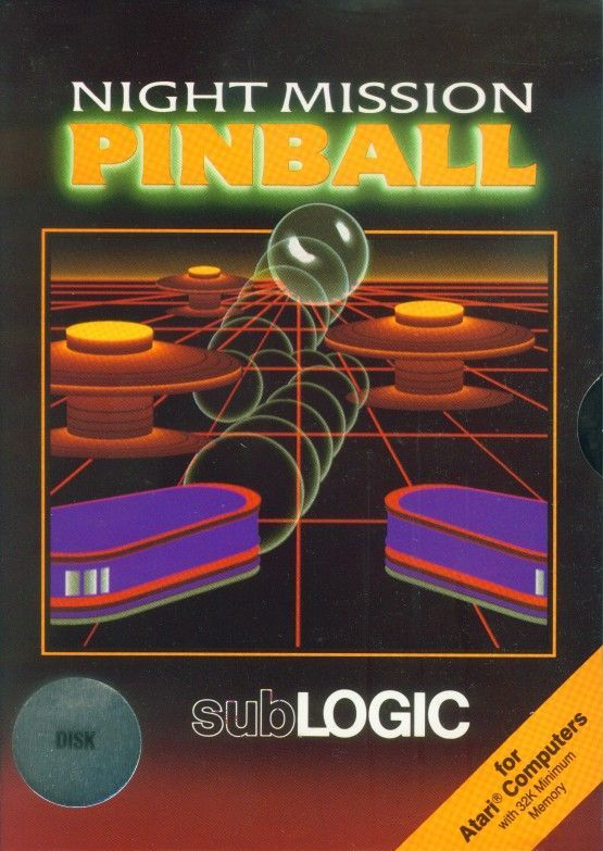 Night Mission Pinball Atari 8-bit Front Cover