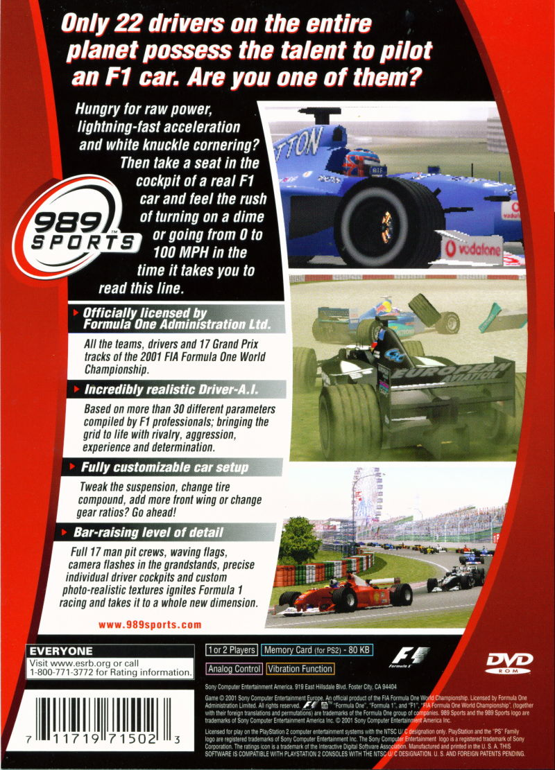 Formula One 2001 PlayStation 2 Back Cover