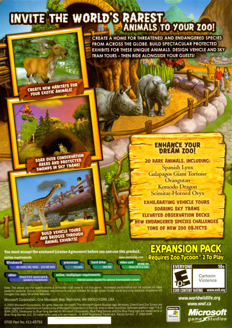 Zoo Tycoon 2: Endangered Species (2005) Windows box cover