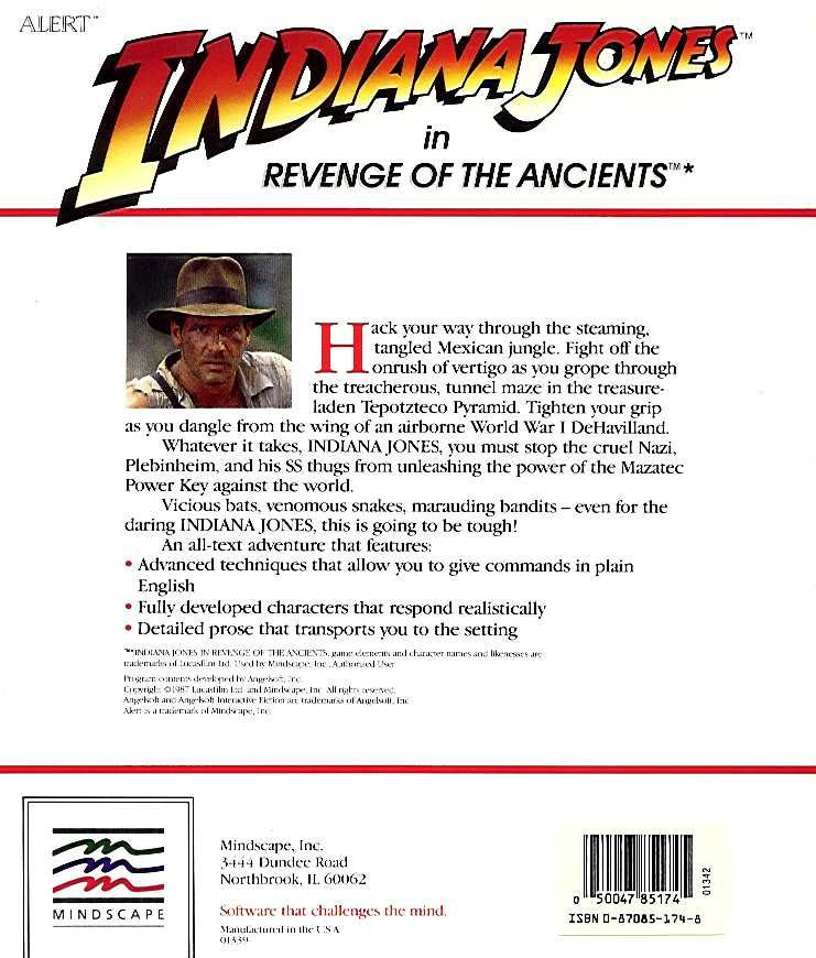 Indiana Jones in Revenge of the Ancients Apple II Back Cover