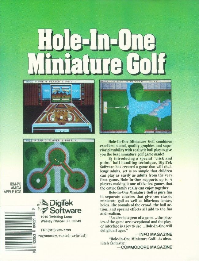 Hole-In-One Miniature Golf DOS Back Cover