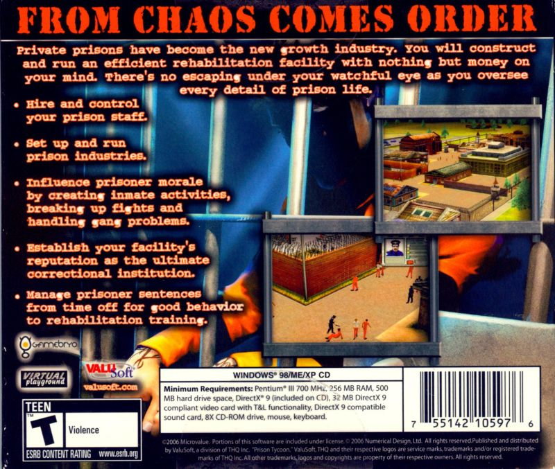 Prison Tycoon Windows Back Cover