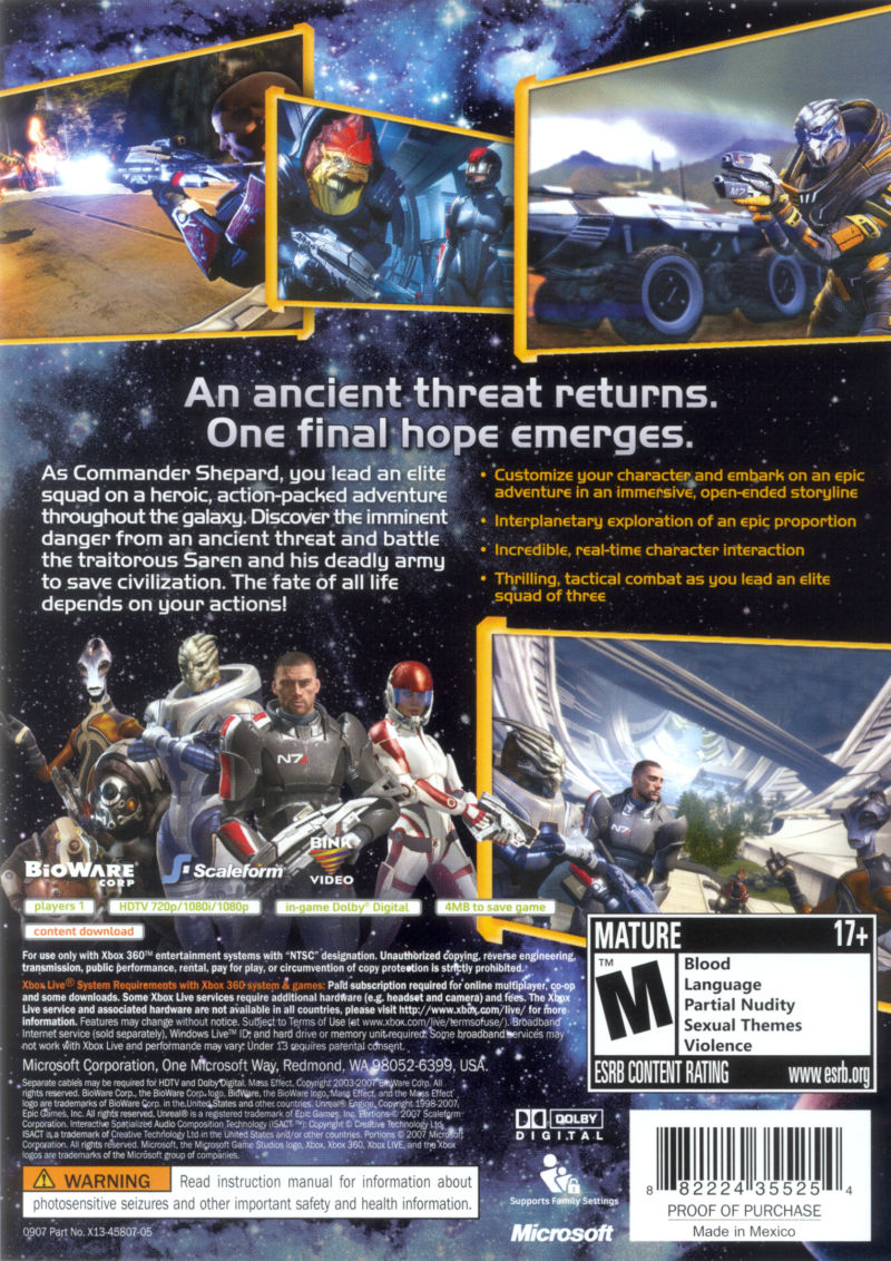 Mass Effect Xbox 360 Back Cover