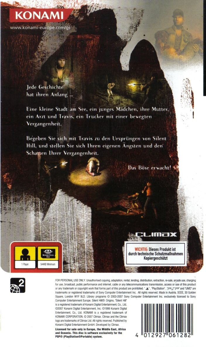 Silent Hill: 0rigins PSP Back Cover