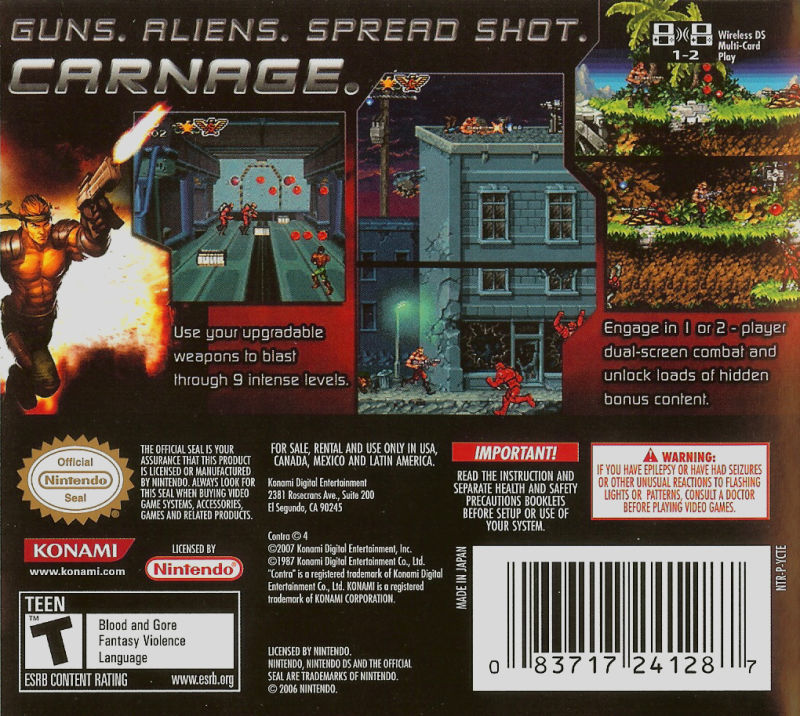 Contra 4 Nintendo DS Back Cover