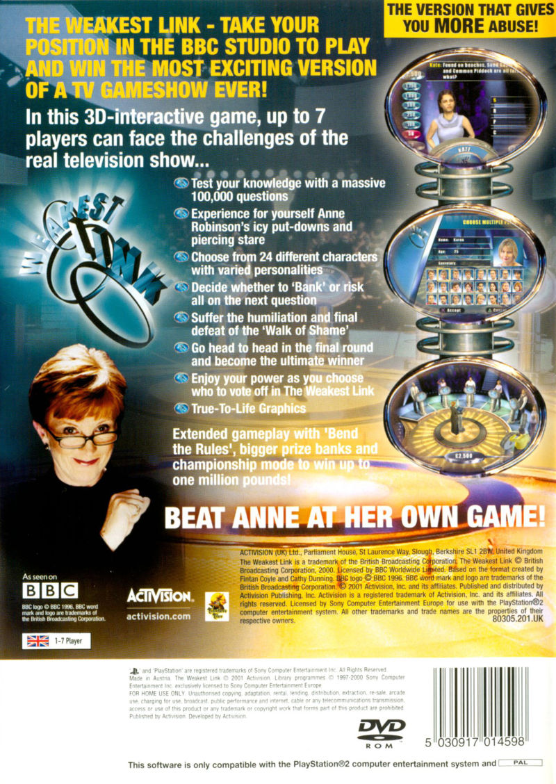 Weakest Link (2001) PlayStation 2 box cover art - MobyGames