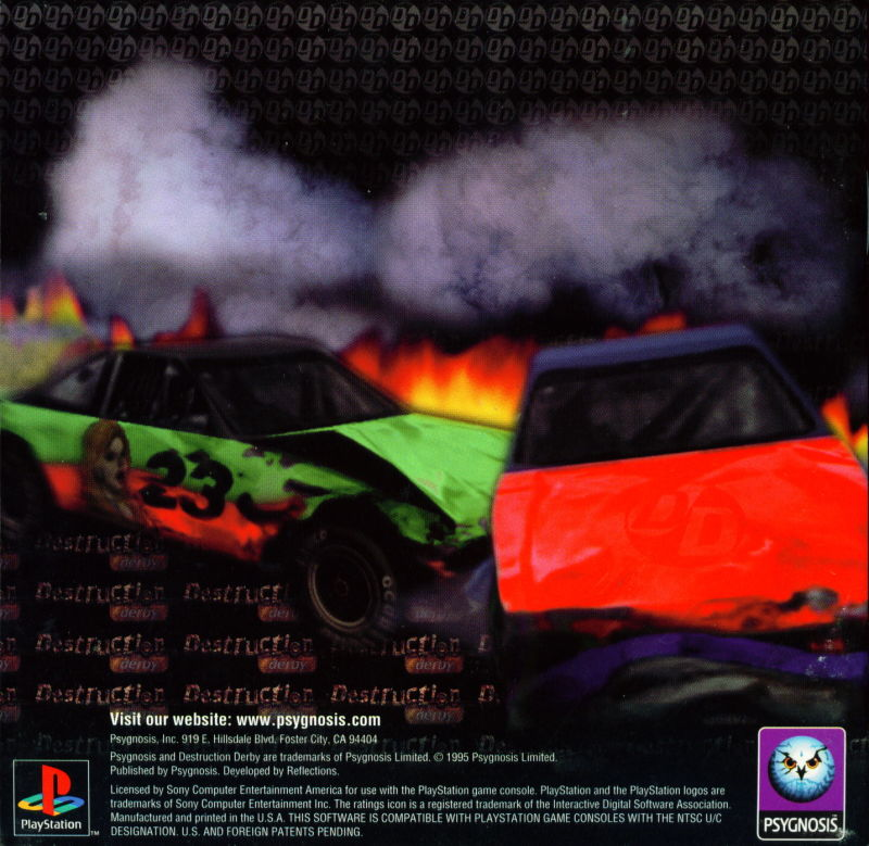 Destruction Derby PlayStation Inside Cover