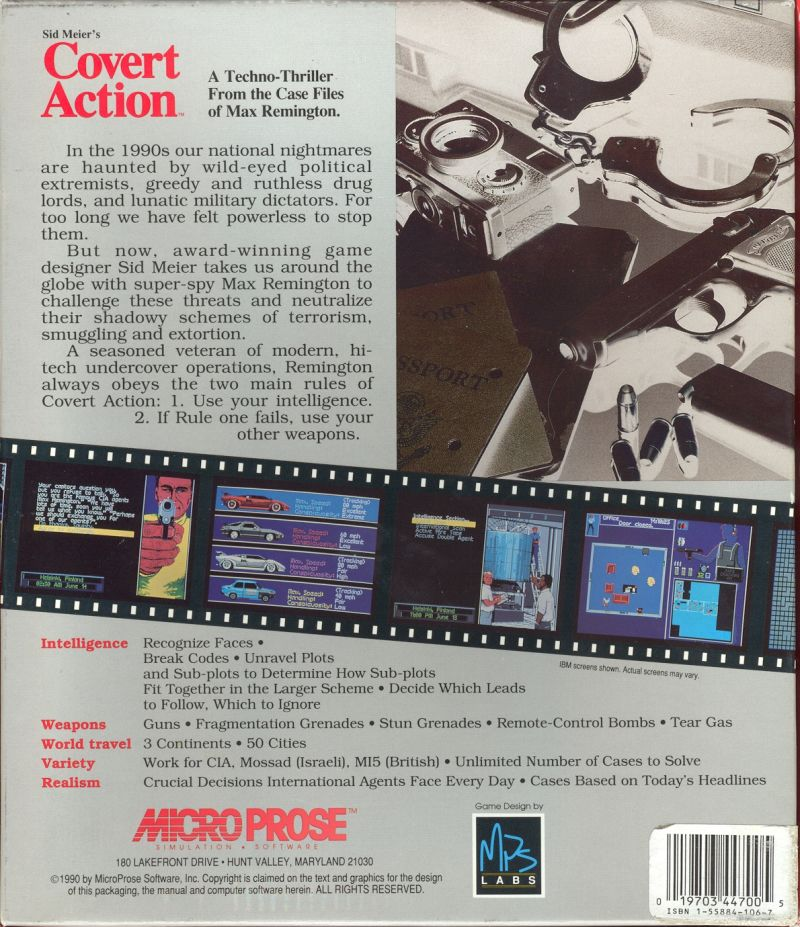 Sid Meier's Covert Action DOS Back Cover