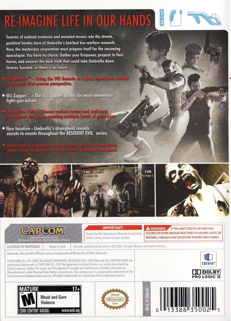 Resident Evil: The Umbrella Chronicles Wii Back Cover