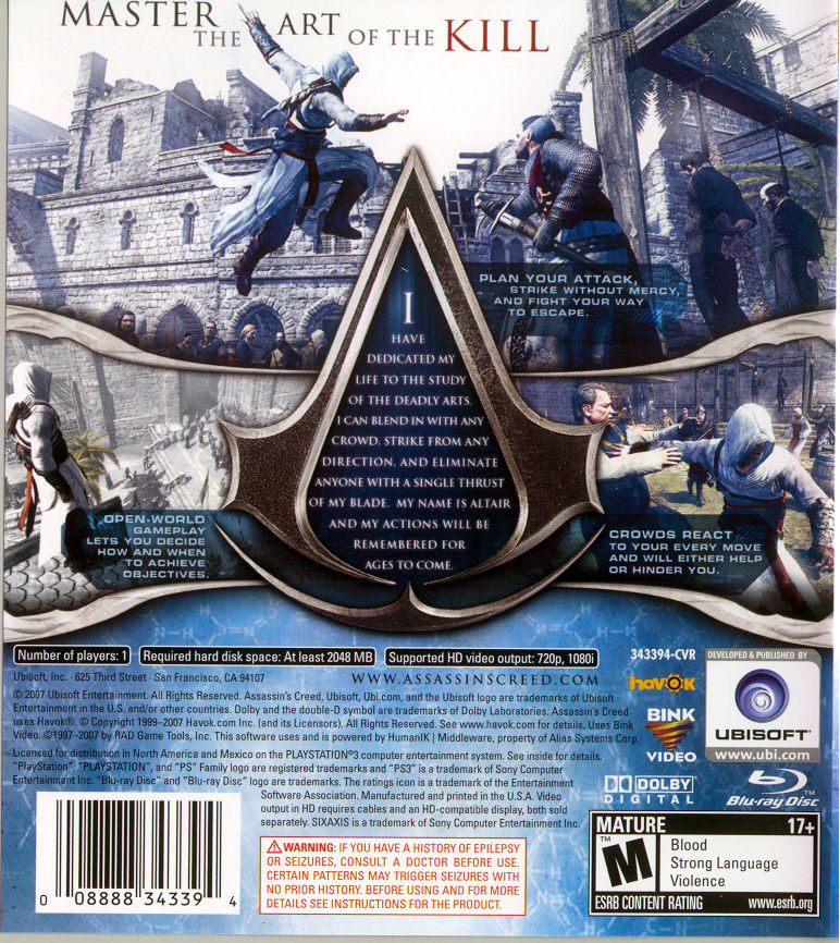 Assassin's Creed (Limited Edition) PlayStation 3 Other Keep Case - Back