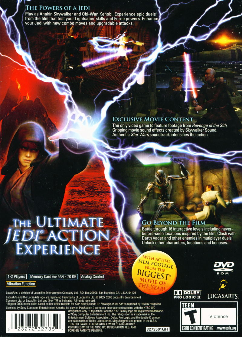 Star Wars Episode Iii Revenge Of The Sith 2005 Playstation 2 Box Cover Art Mobygames