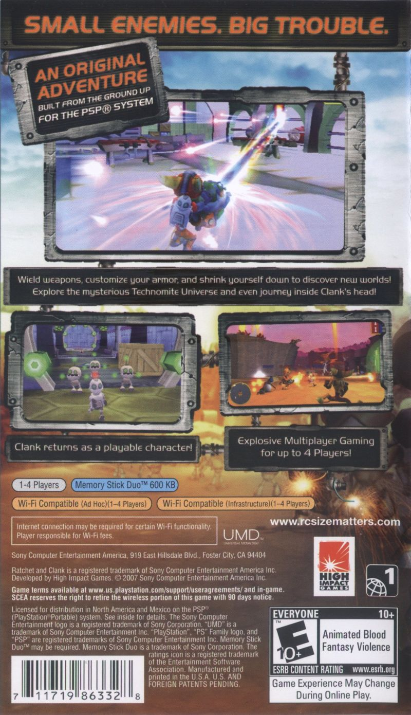 Ratchet & Clank: Size Matters PSP Back Cover