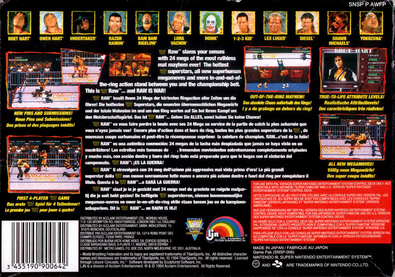 Wwf Raw 1994 Snes Box Cover Art Mobygames