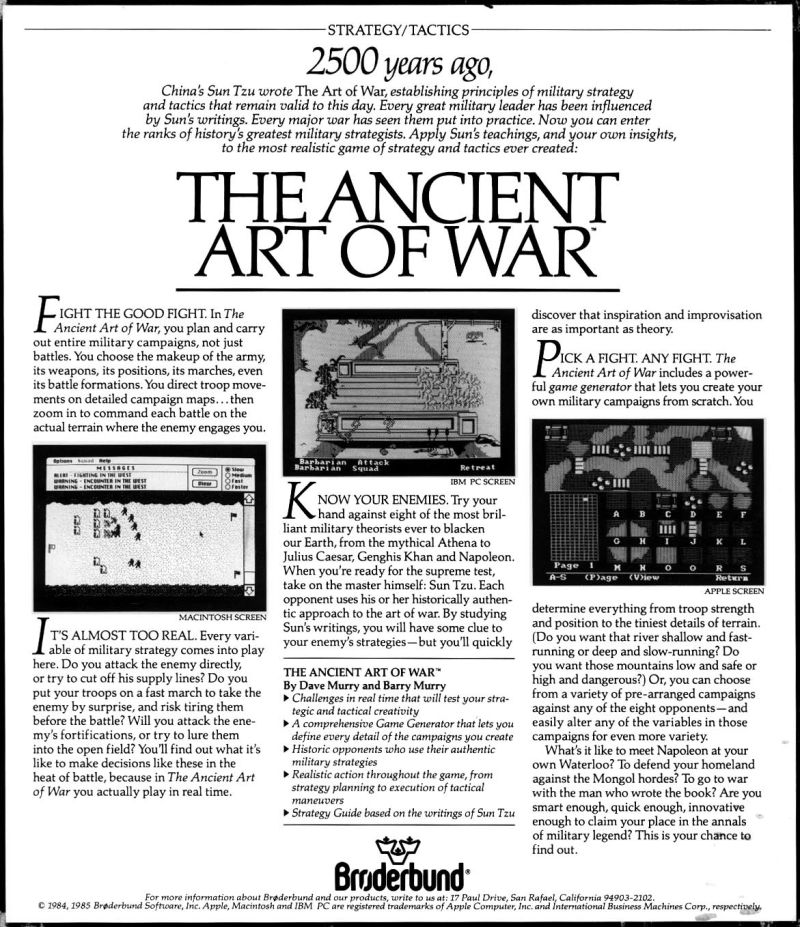 The Ancient Art of War DOS Back Cover