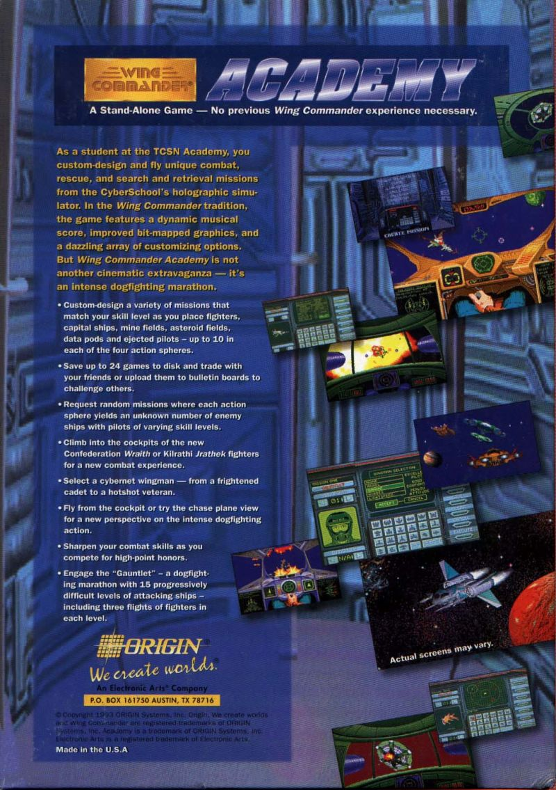 Wing Commander Academy DOS Back Cover