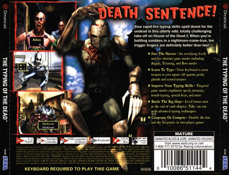 The Typing of the Dead Dreamcast Back Cover