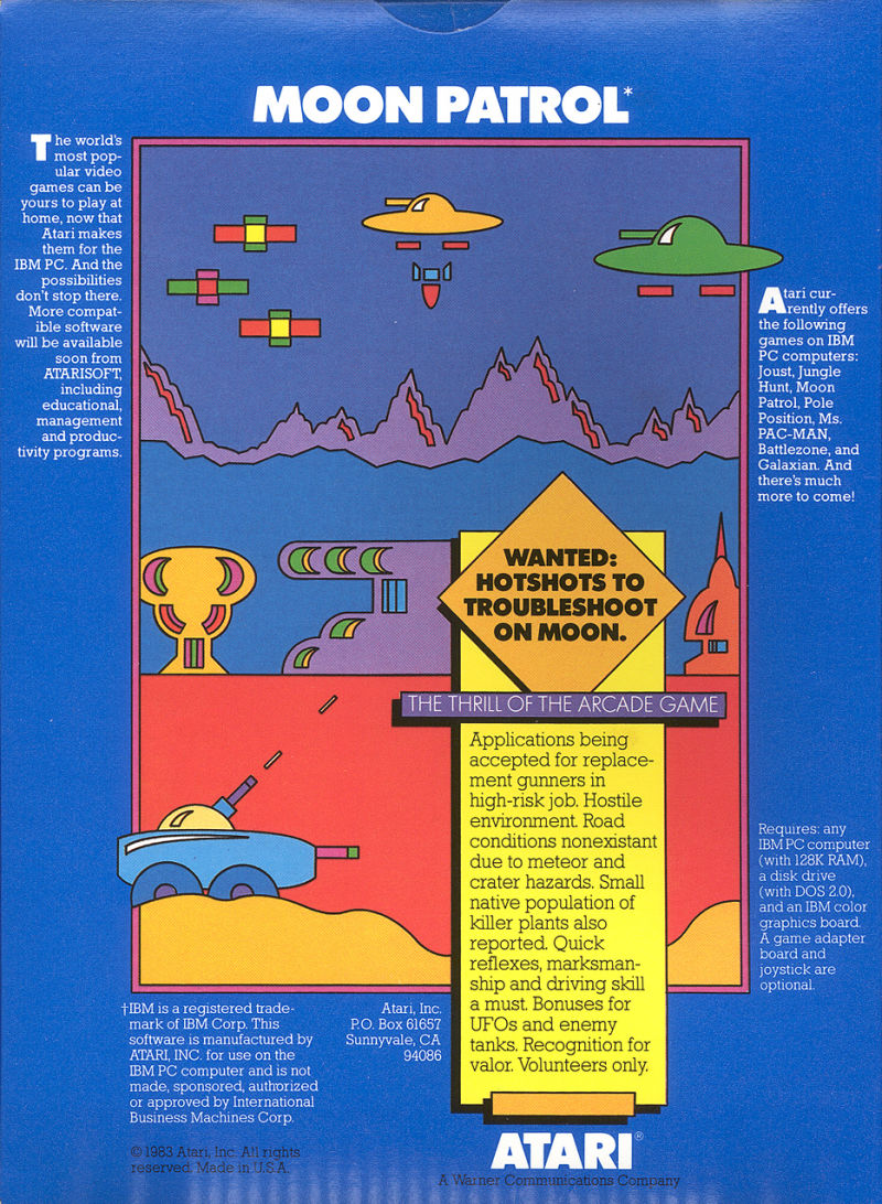 Moon Patrol PC Booter Back Cover