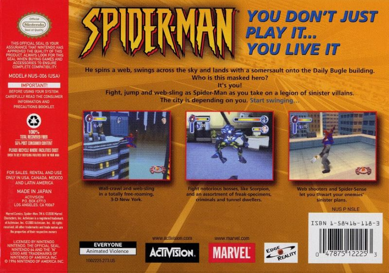 Spider-Man Nintendo 64 Back Cover