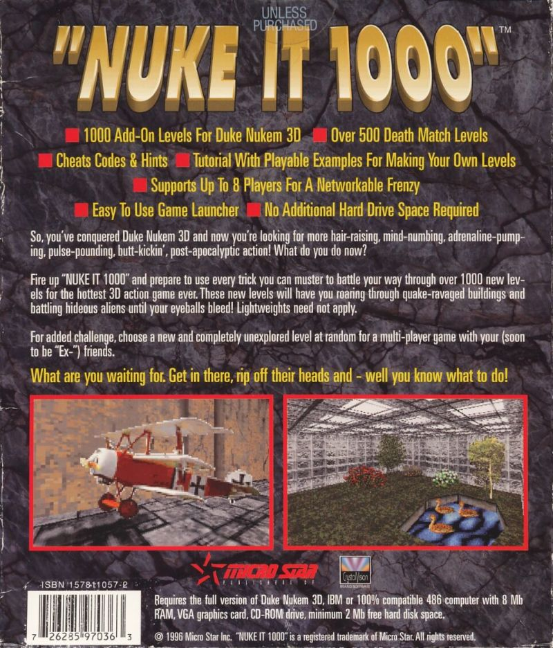 Nuke It 1000 DOS Back Cover