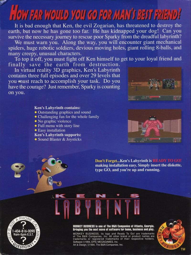 Ken's Labyrinth DOS Back Cover