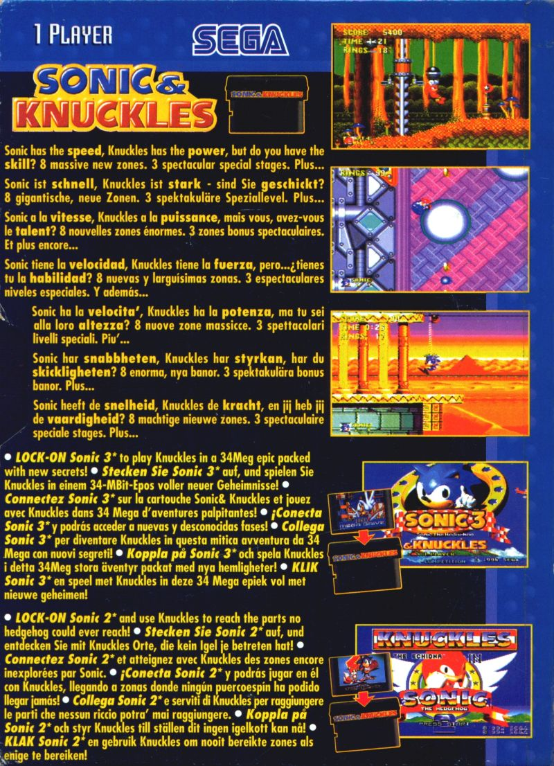 Sonic & Knuckles Genesis Back Cover