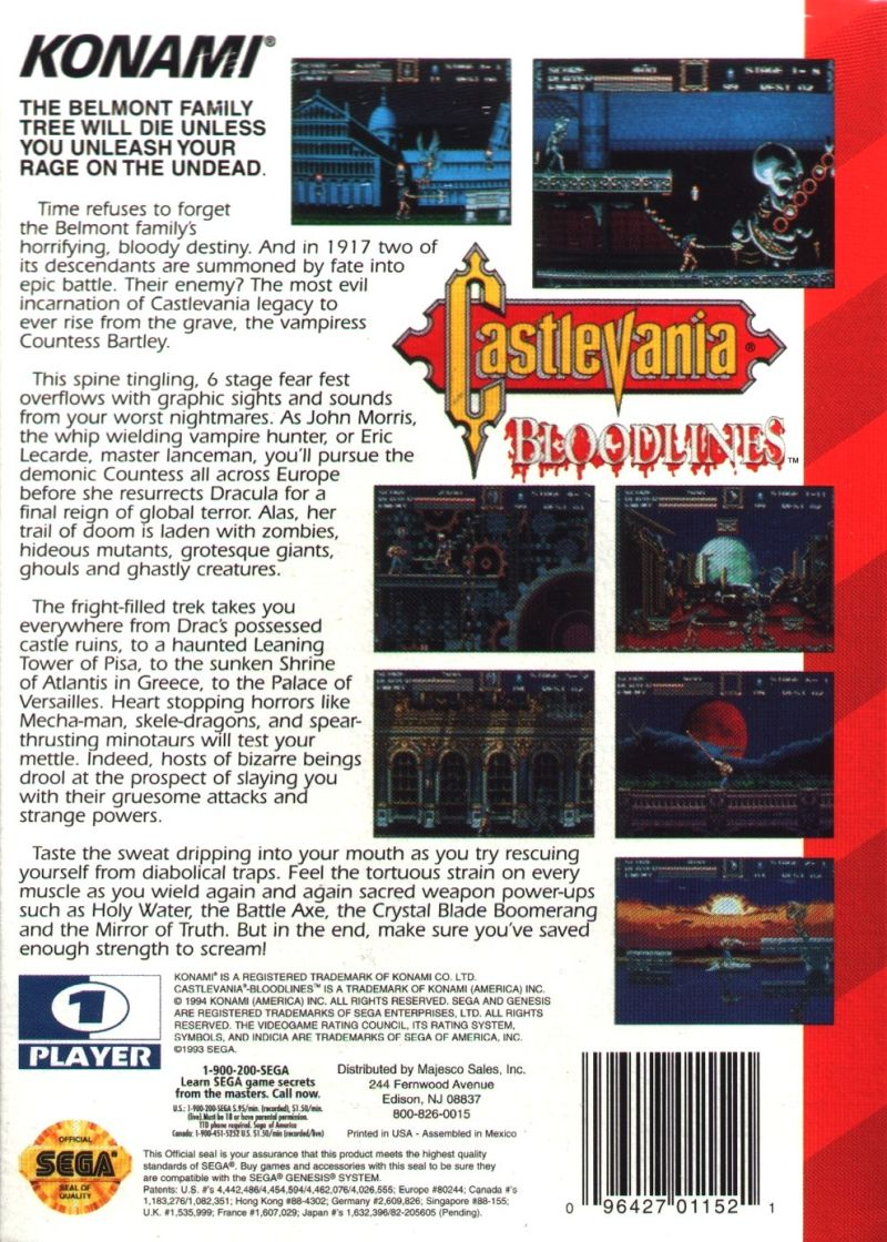 Castlevania Bloodlines Genesis Back Cover