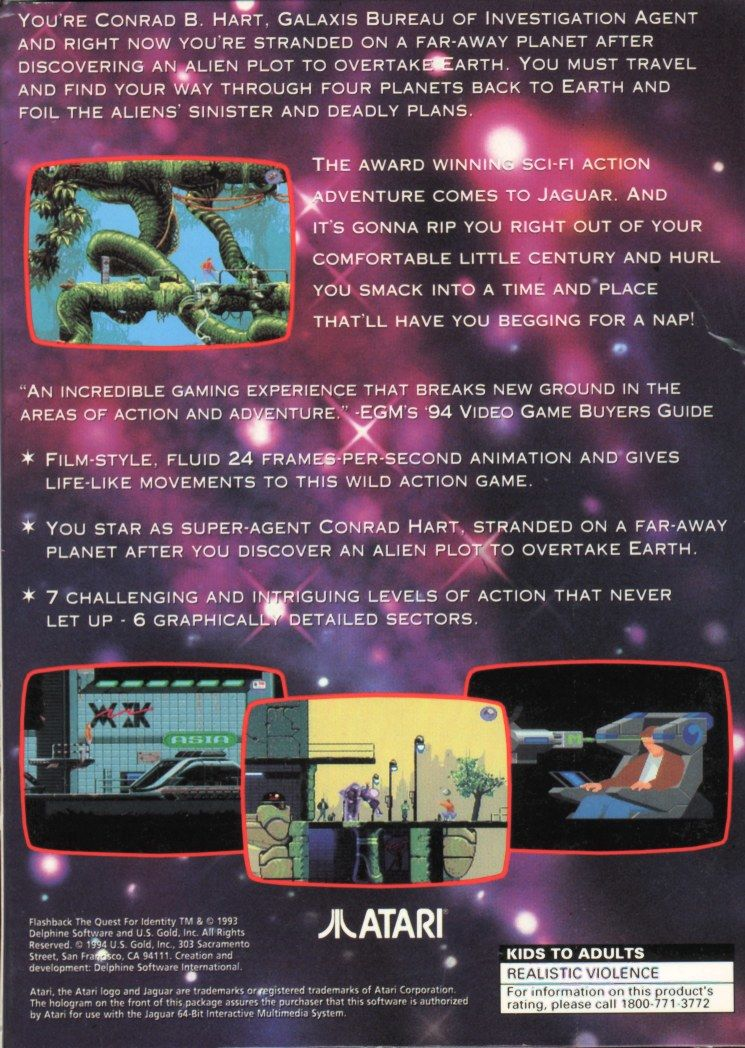 Flashback: The Quest for Identity Jaguar Back Cover