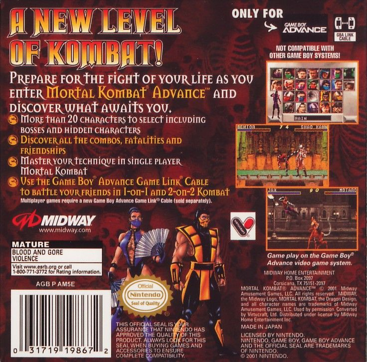 Ultimate Mortal Kombat 3 Game Boy Advance Back Cover