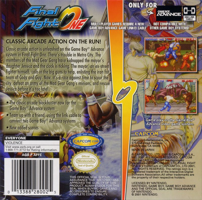 Final Fight Game Boy Advance Back Cover